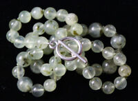"Prehnite Green Natural Gemstone Hand Tied Silk Knotted Necklace 21"" Silver Hook"