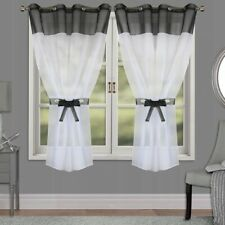 PAIR READY MADE CURTAINS Black White VOILE EYELET RING