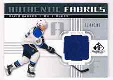 2011-12 SP GAME USED FABRICS DAVID BACKES JERSEY 1 COLOR 014/100 ST LOUIS BLUES