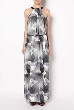 Witchery overlay maxi dress black white grey geometric halter neck leather 16