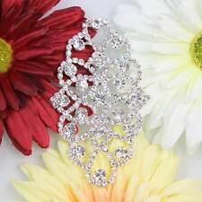 Shinning 1Pc Fasion Clear Rhinestone Trim Crystal Sew On Bridal Applique Silver