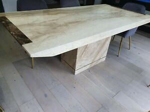 Solid Marble stone dining table Beige/Light Brown -  2m x 1m