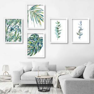 Set of 5 PRINT of ORIGINAL floral watercolour fern leaf painting poster decor