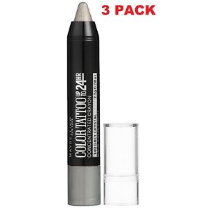 3 PACK Maybelline NY Eyestudio ColorTattoo Concentrated Crayon740 Grey Crystal