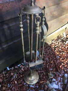 Vintage Brass Fire Companion Set Cast Brass