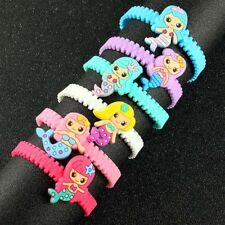 6X Girls/Kids Mixed Cartoon Mermaid Fish Silicone Rubber Wristband Bracelet Gift