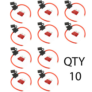 (10) 8 Gauge ATC Inline Fuse Holder Fuseholder with cover and (10)  10 Amp