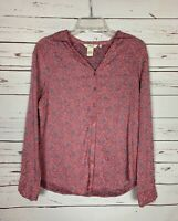 Sundance Catalog Women's S Small Pink Embroidered Long Sleeve Button Top Blouse