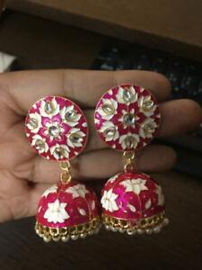 Indian Bollywood Gold Plated Pearl Earring Jhumki Wedding Women Kundan Jewelry
