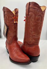 Men's Cowboy Boots Genuine Lizard Leather Cognac Brown 8.5