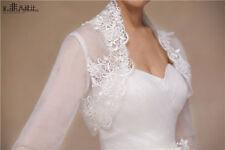 New White Lace Applique Collar Wedding Bridal Bolero Jacket Shawl Shrug