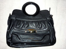 LARGE BLACK GUESS PEBBLED LEATHER LEYA MWT BAG MESSENGER SHOULDER PURSE PATENT