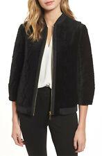 TED BAKER Bartel black velvet quilted embroidered bomber jacket dress coat 2 10
