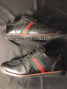 GUCCI BLACK LEATHER GG SNEAKERS SIZE 43.5 US 10.5 SHOES ALL AUTHENTIC