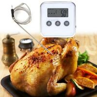 Digital Thermometer Timer Food Meat Oven Temperature Meter Gauge w/ Remote Probe