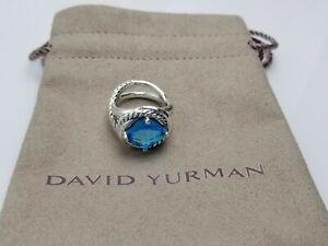 David Yurman 11mm Infinity Ring with Blue Topaz size 8