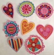 Hearts and flowers - Iron On Fabric Appliques