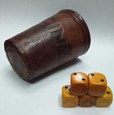 Unusual vintage CINZANO ad die dice leather beaker 1950