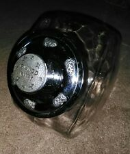 Glass Cat Treat Jar With Silver Metal Lid * Good Kitty * Great Condition!