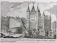 Marie Antoinette Louis 16 à La prison du temple 1792 Gravure d'époque Révolution