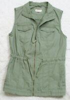 Merona Green Sleeveless Solid Woman's Zip Front Vest Jacket Coat XS Extra Small