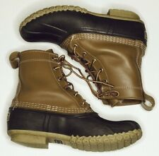 """LL Bean original Duck Boots womens size 8 brown leather 8"""" rain snow lace up"""