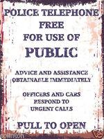 POLICE PHONE BOX METAL SIGN VINTAGE STYLE 8x10in 20x25cm pub bar shop