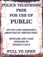 POLICE PHONE BOX METAL SIGN VINTAGE STYLE 8x10in 20x25cm pub bar shop