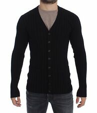 NWT DOLCE & GABBANA Black Silk Stretch Cardigan Sweater Mens Top IT50 / M