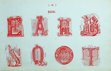 1865 ORNAMENTAL ALPHABET PRINT ~ INITIALS