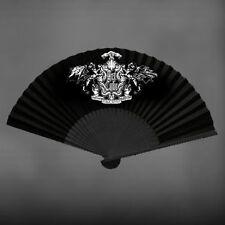 "Vintage Victorian Black Gothic Lolita Art Cube Silk Hand Fan 10"" JROCK EGL Style"