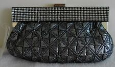 Silver Gunmetal Evening Rhinestone Pouch Clutch Bag Purse Handbag NEW Only 1