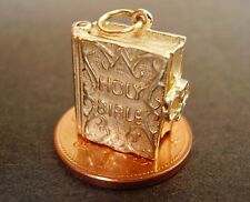 FULLY HALLMARKED 9CT GOLD OPENING ' HOLY BIBLE ' CHARM