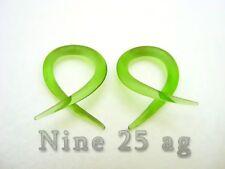 Plugs Body Jewelry Spirals Pyrex Glass 14G Green Twists