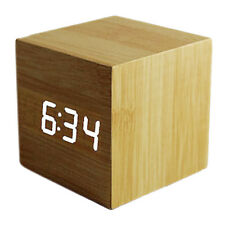 Wood Cube LED Alarm Desk Clock Room Temperature Bamboo wood white led SHC3