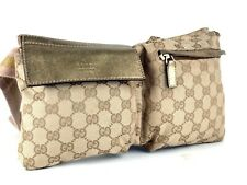 Auth GUCCI GG Pattern Beige Canvas & Gold Leather Waist Belt Bag Bum Bag Italy