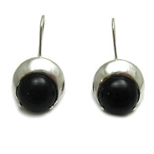 Genuine sterling silver earrings solid 925/1000 with natural black onyx E000711