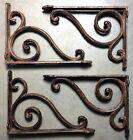 SET OF 4 RUSTIC  BROWN SCROLL BRACE/BRACKET vintage looking patina finish