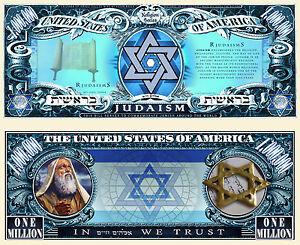 Le JUDAISME - BILLET 1 MILLION DOLLAR US ! Collection Religion Juive juif Israel
