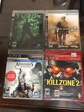 LOT of 4 PS3 Games Turok COD Modern Warfare 2 Assassin's Creed III Killzone 2