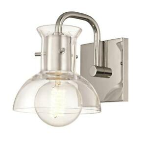 Mitzi by Hudson Valley Riley 1-Light Polished Nickel Bath Light with Clear Glass