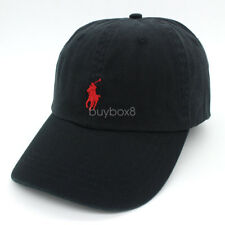 Unisex Basic Small Pony RL Polo Cotton Sport Golf Baseball Hat Cap - Black / Red