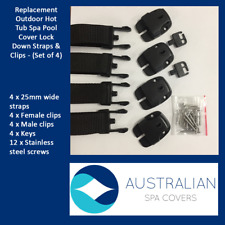 Replacement Outdoor Hot Tub Spa Pool Cover Lock Down Straps & Clips - (Set of 4)
