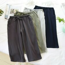 Men Cotton Gauze Shorts Pants Trousers Loose Soft Sleepwear Nightwear Bottom