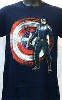 Captain America T-Shirt Mens Various Sizes Blue Licensed Tee Shield Avengers