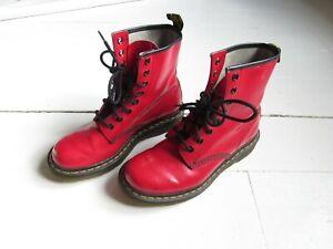Womens Original Dr Martens 1460 Scuffed Red Retro Mod Boots Shoes   5 UK EU 38