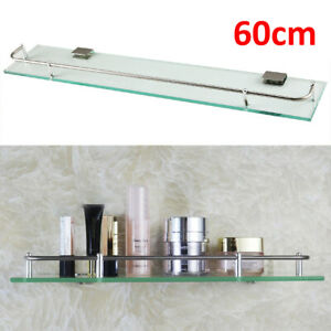 Glass Bathroom Shower Shelf Storage Rack Wall Mounted Holder Caddy Organizer UK