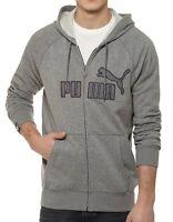 New Men's PUMA Zip Up Hoodie Light Grey Melange S M L XL Big Cat Logo Hooded Top