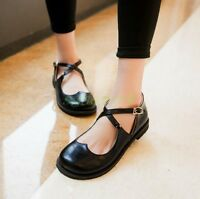 Gothic Women's Flat Platform Buckle Mary Jane Pumps Casual Cross Buckle Shoes 00
