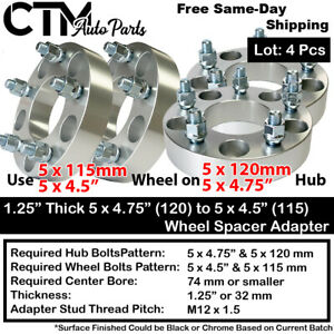 """4PCS 1.25"""" THICK 5x4.75(5x120) TO 5x4.5(5x115) WHEEL ADAPTER FIT CHEVY GMC MORE"""